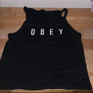 Black obey crop top
